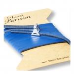 bracelet multi tours cuir et plaque argent le lacet parisien valentine diveene joaillerie bracelet bleu