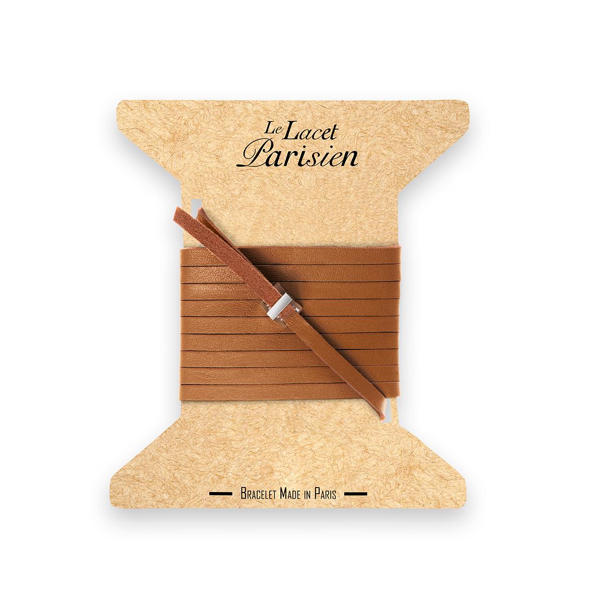 bracelet multi tours cuir et plaque argent le lacet parisien valentine diveene joaillerie bracelet camel