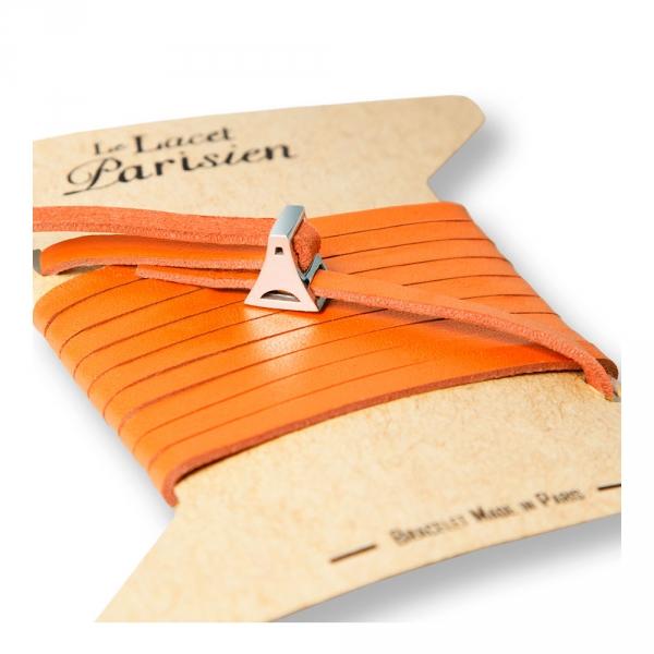 bracelet multi tours cuir et plaque argent le lacet parisien valentine diveene joaillerie bracelet orange