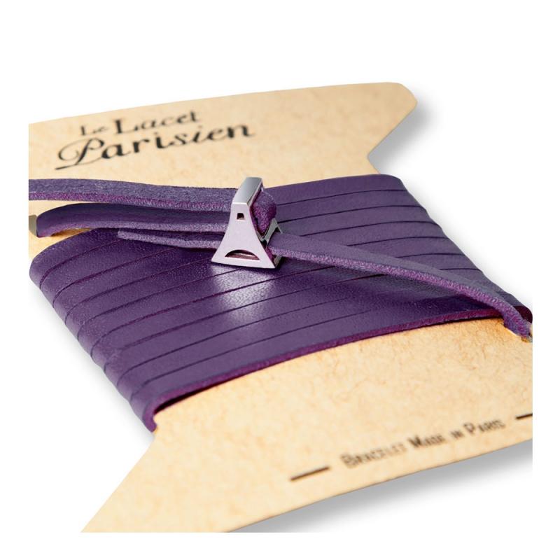 Bracelet Multi Tours Femme en Cuir Violet , Valentine