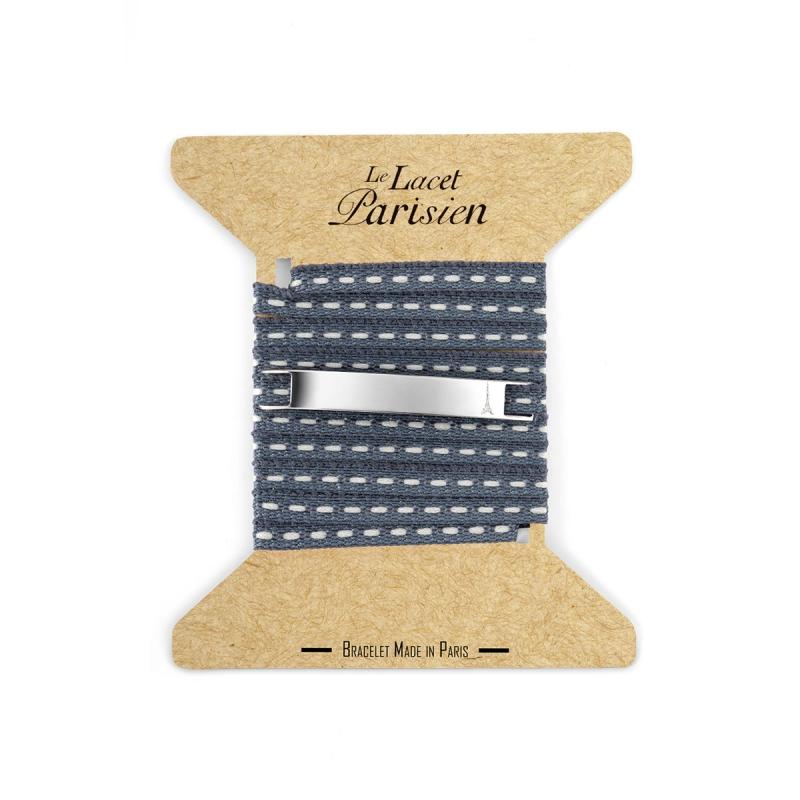 Bracelet Multi Tours Mixte en Coton Ardoise , Camille