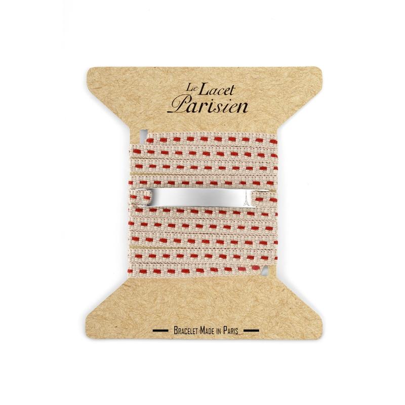 Bracelet Multi Tours Mixte en Coton Beige , Camille