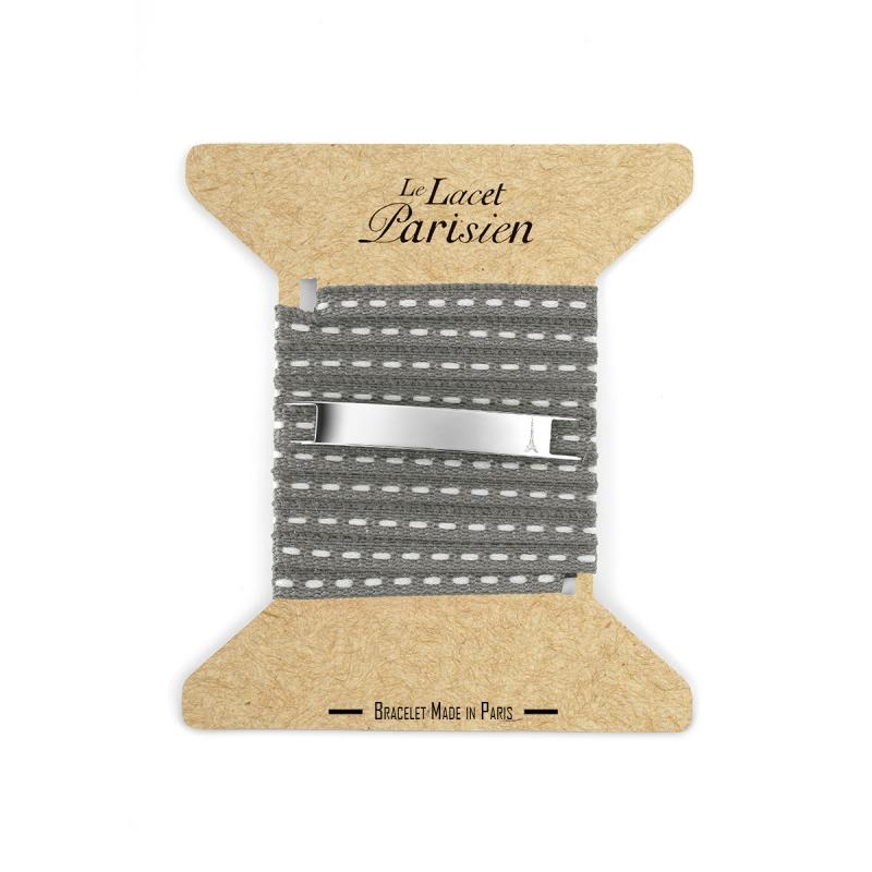 Bracelet Multi Tours Mixte en Coton Gris , Camille