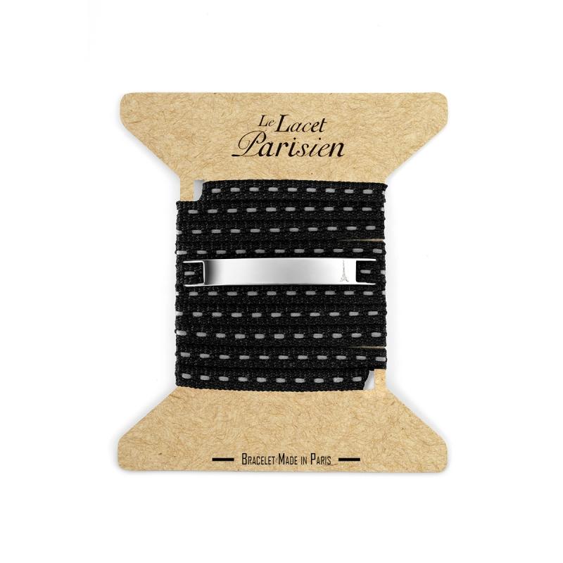 Bracelet Multi Tours Mixte en Coton Noir , Camille