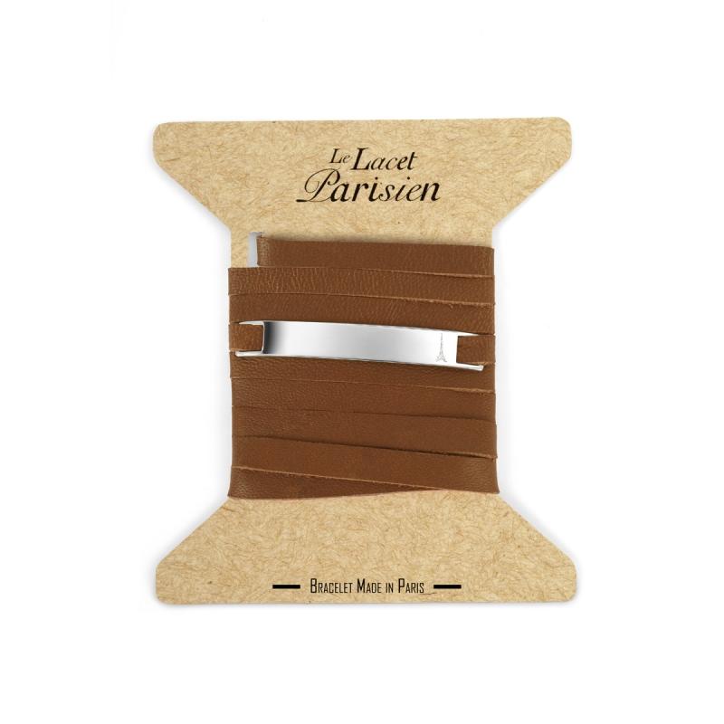 Bracelet Mixte Cuir Fauve, Plaque Argent , Camille