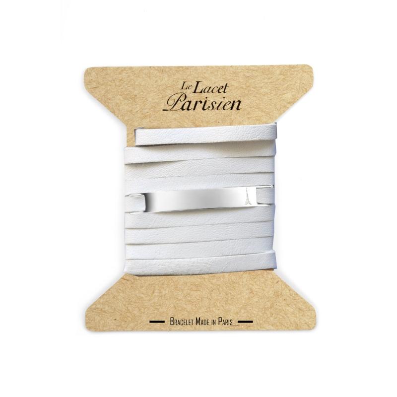 Bracelet Mixte Cuir Blanc,Plaque Argent , Camille