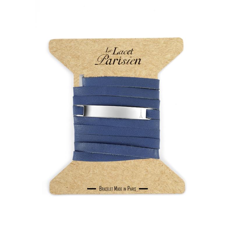 Bracelet Mixte Cuir Bleu, Plaque Argent , Camille