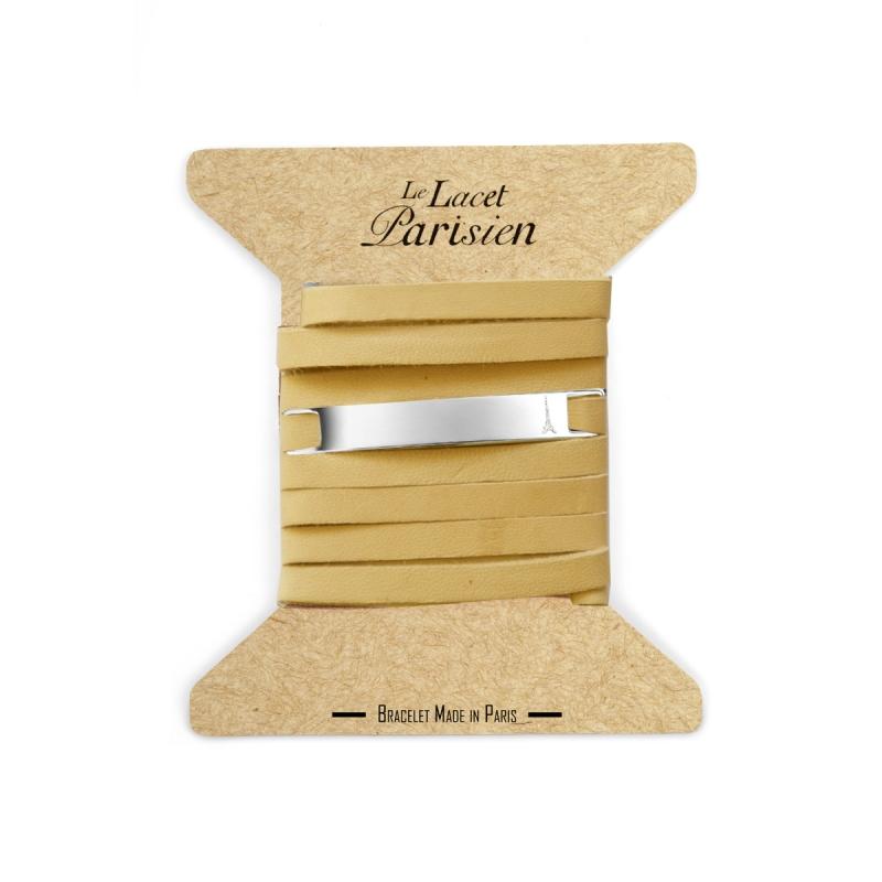 Bracelet Mixte Cuir Chair,Plaque Argent , Camille