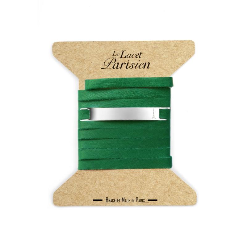 Bracelet Mixte Cuir Vert,Plaque Argent , Camille