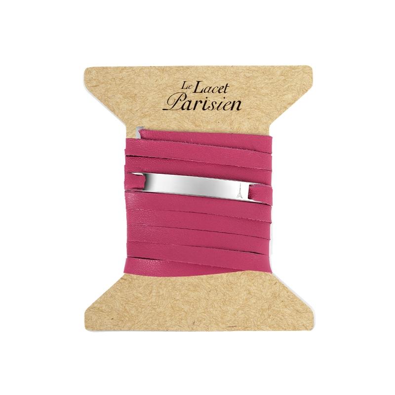 Bracelet Mixte Cuir Rose,Plaque Argent , Camille