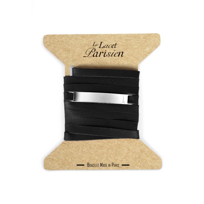 Bracelet Mixte Cuir Noir,Plaque Argent , Camille
