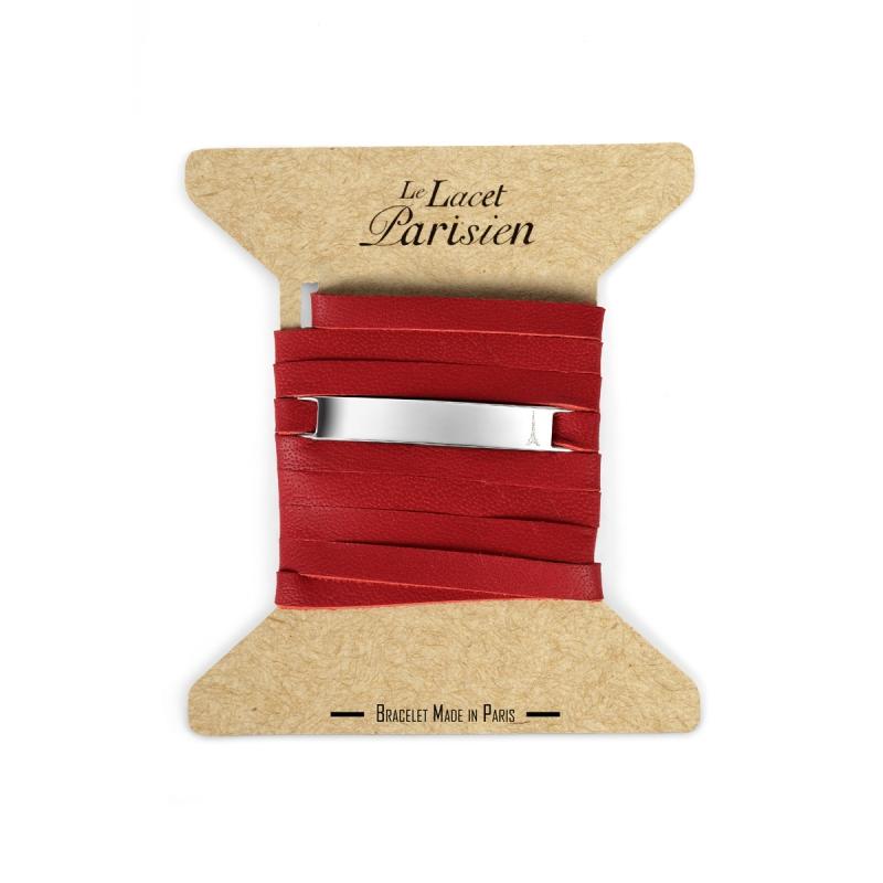 Bracelet Mixte Cuir Rouge,Plaque Argent , Camille