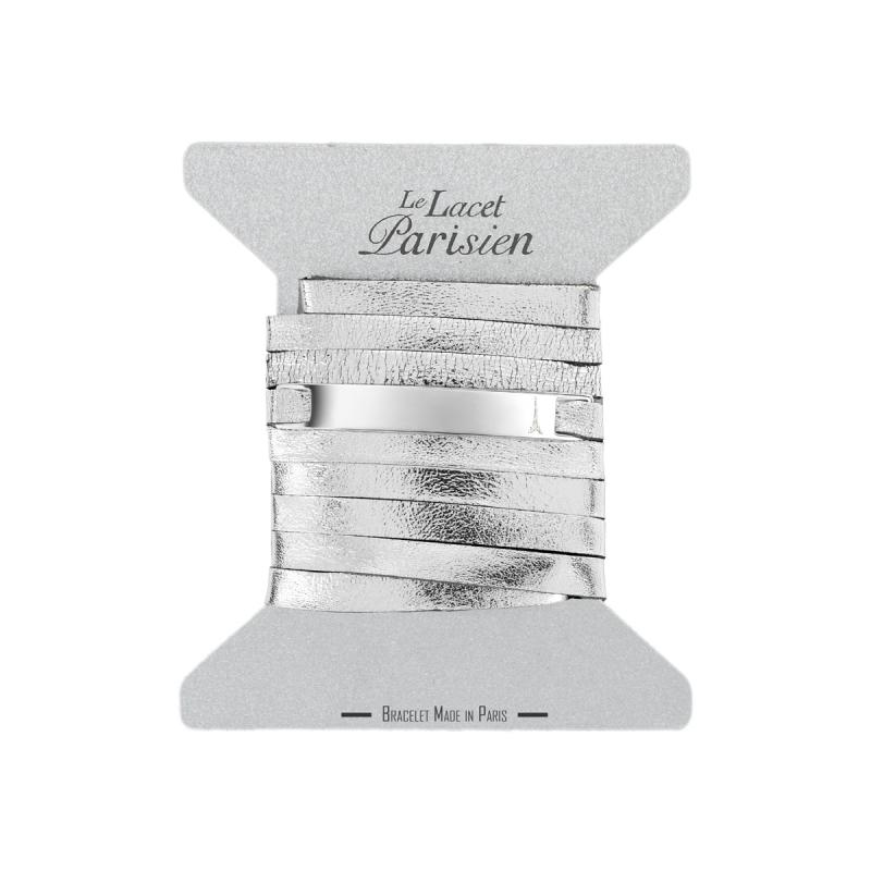 Bracelet Mixte Cuir argent,Plaque Argent , Camille