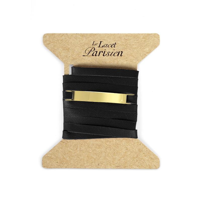 Bracelet Mixte Cuir Noir, Paque Dorée , Camille