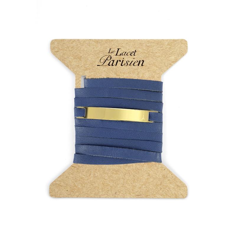 Bracelet Mixte Cuir Bleu, Paque Dorée , Camille