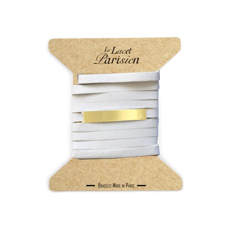 Bracelet Mixte Cuir Blanc, Paque Dorée , Camille