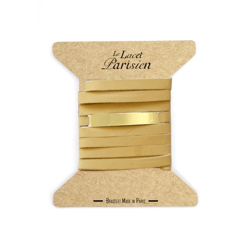 Bracelet Mixte Cuir Chair, Paque Dorée , Camille