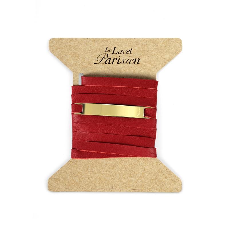 Bracelet Mixte Cuir Rouge, Paque Dorée , Camille