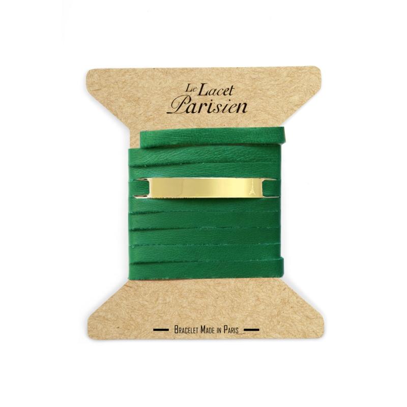Bracelet Mixte Cuir Vert, Paque Dorée , Camille