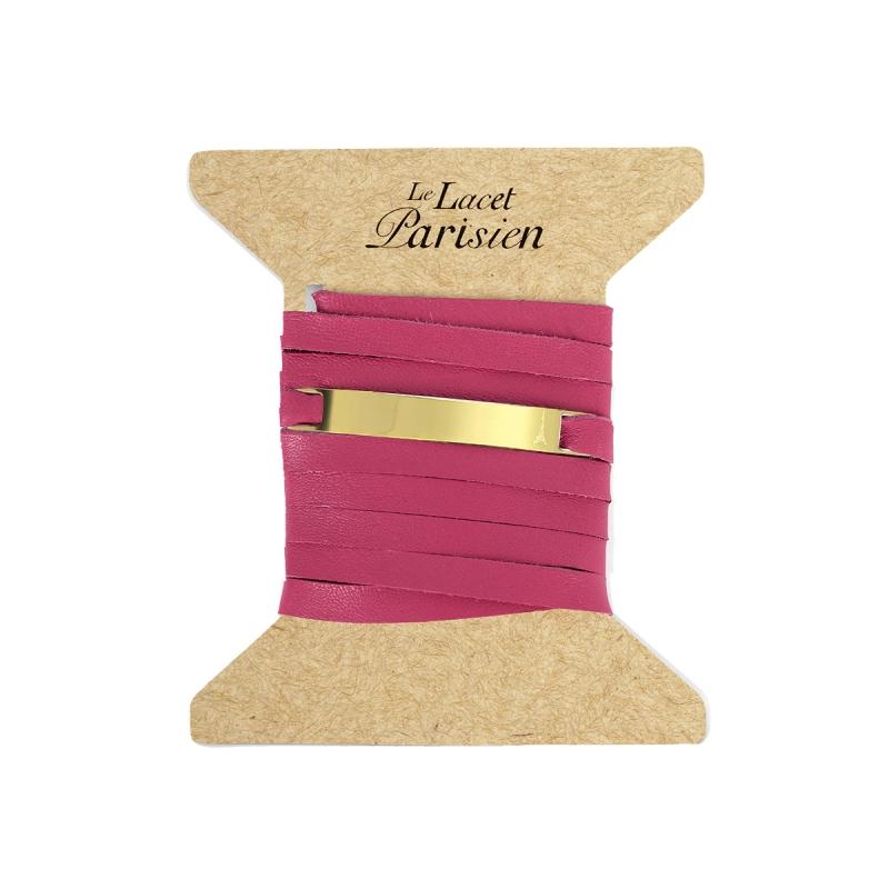 Bracelet Mixte Cuir Rose, Paque Dorée , Camille
