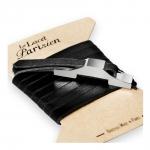 bracelet multi tours cuir et plaque argent le lacet parisien gustave diveene joaillerie bracelet noir