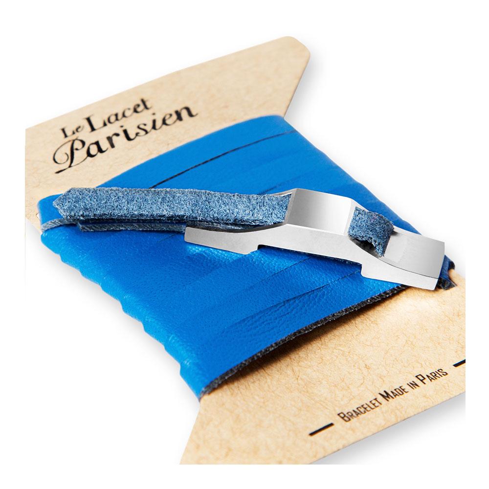 bracelet multi tours cuir et plaque argent le lacet parisien gustave diveene joaillerie bracelet bleu