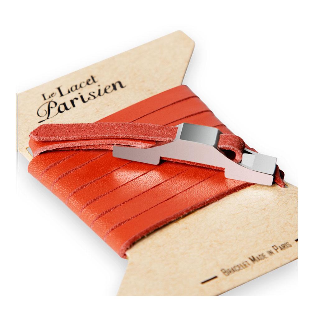 bracelet multi tours cuir et plaque argent le lacet parisien gustave diveene joaillerie bracelet rouge