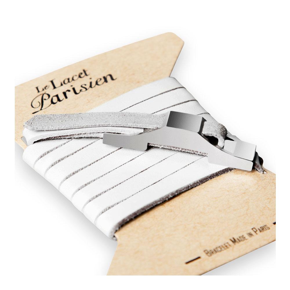 bracelet multi tours cuir et plaque argent le lacet parisien gustave diveene joaillerie bracelet blanc
