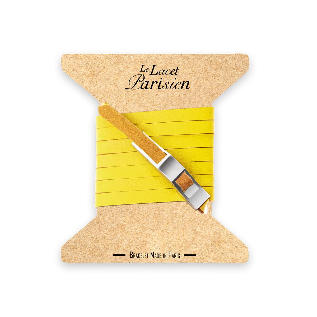 bracelet multi tours cuir et plaque argent le lacet parisien gustave diveene joaillerie bracelet jaune