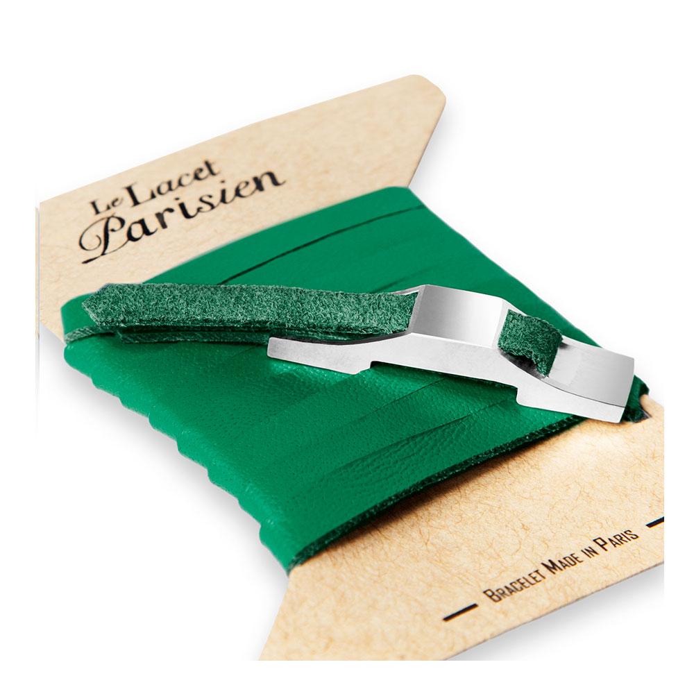 bracelet multi tours cuir et plaque argent le lacet parisien gustave diveene joaillerie bracelet vert