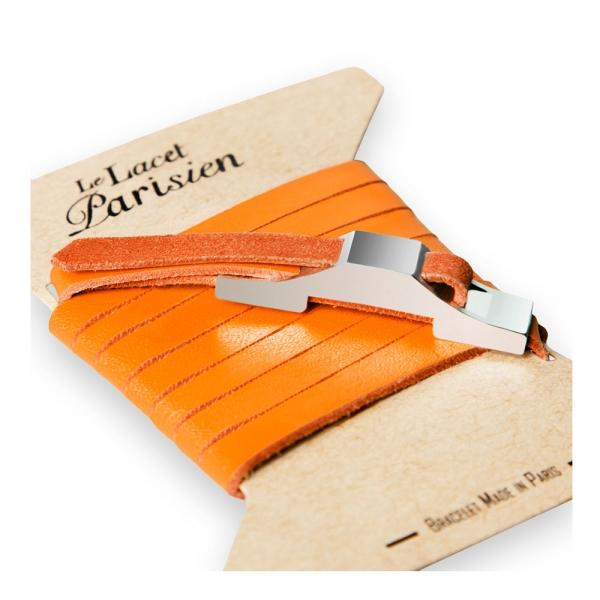 bracelet multi tours cuir et plaque argent le lacet parisien gustave diveene joaillerie bracelet orange
