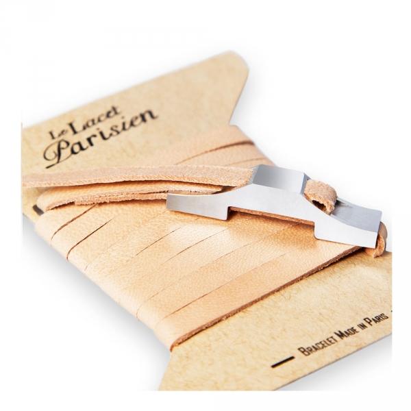 bracelet multi tours cuir et plaque argent le lacet parisien gustave diveene joaillerie bracelet chair