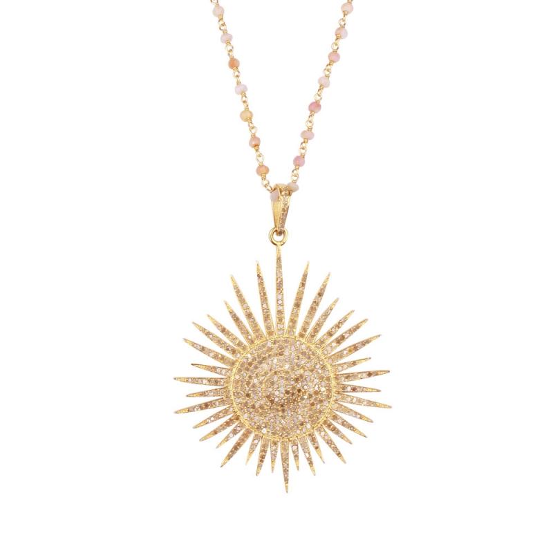Collier Longen Vermeil, Diamants et Topazes , BIG SUN