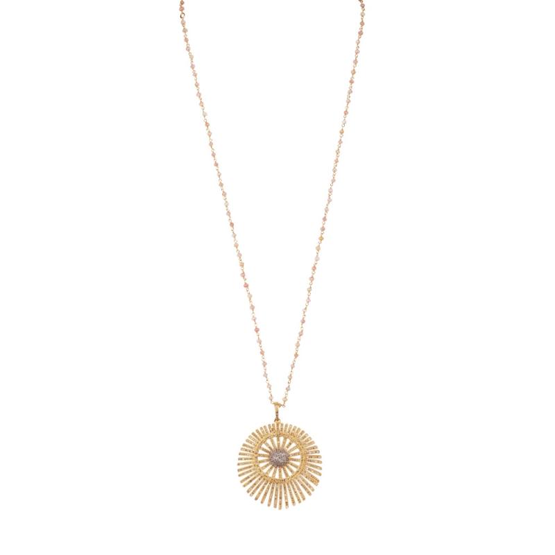 Collier Longen Vermeil, Diamants et Topazes , BIG ROUND SUN