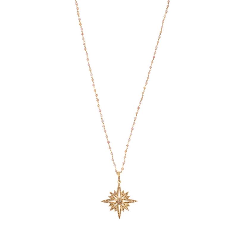Collier Longen Vermeil, Diamants Champagne et Topazes , 8 POINT STAR