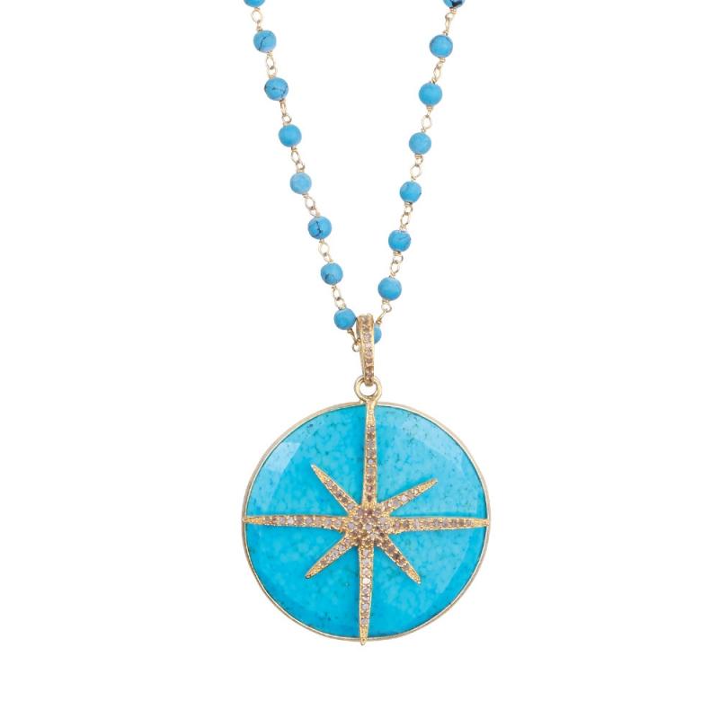 Collier Longen Vermeil, Diamants Champagne et Turquoise , STAR MEDALLION