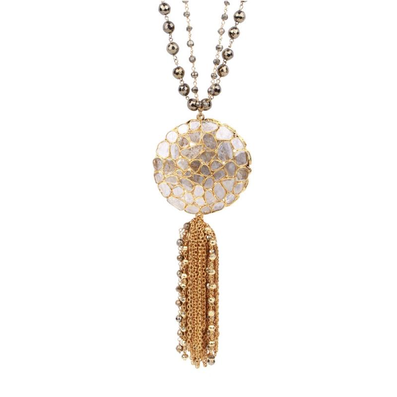 Collier en Vermeil, Diamants et Pyrite , ROUNDED TALISMAN