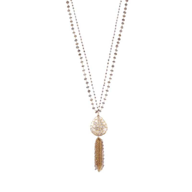 Collier en Vermeil, Diamants et Labradorite , DROP TALISMAN