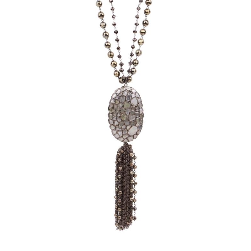 Collier en Argent, Diamants et Pyrite , OVAL TALISMAN