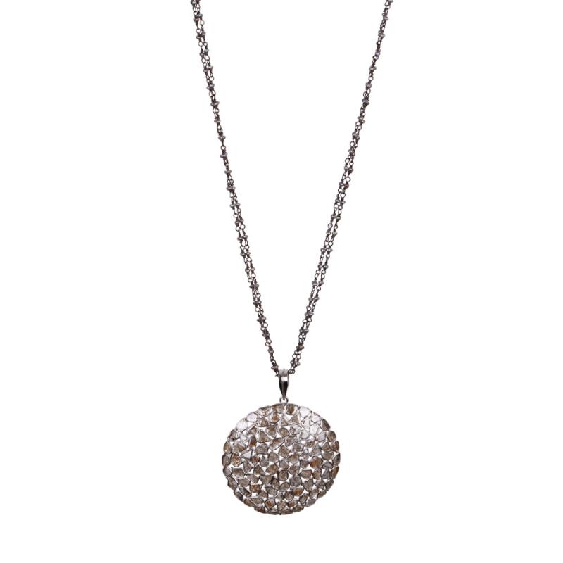 Collier en Argent, Diamants et Labradorite , TALISMAN