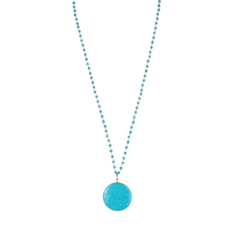 Collier en Vermeil et Turquoises , Médaillon Turquoise