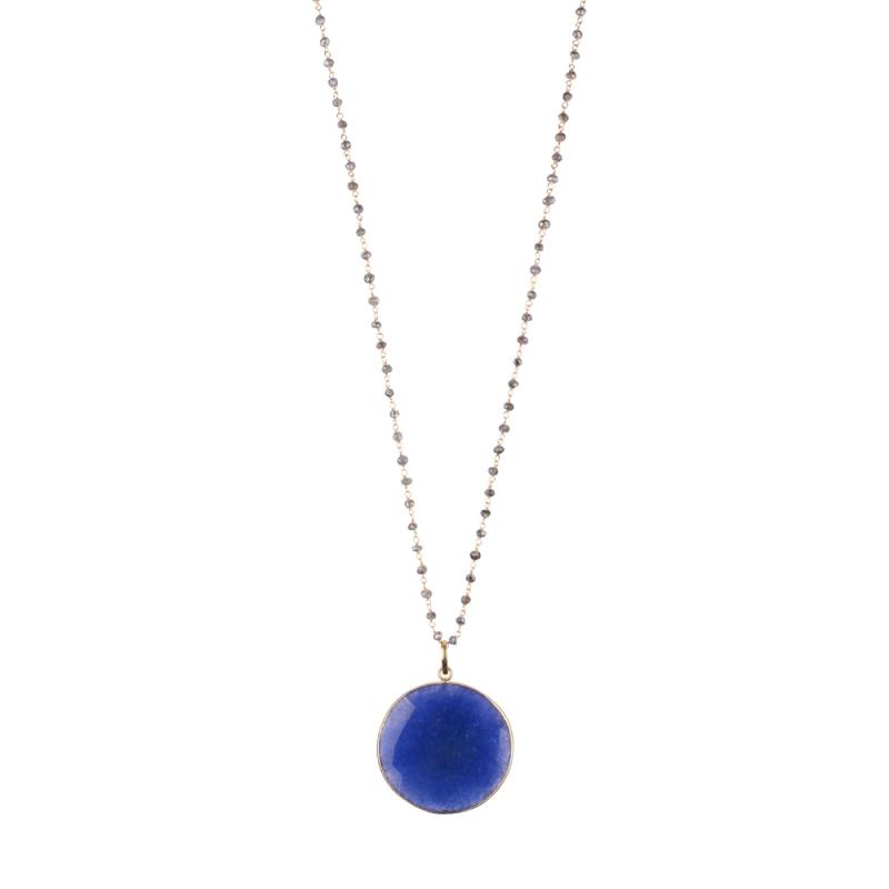 Collier Long en Vermeil et Lapis Lazuli , Médaillon Lapis Lazuli