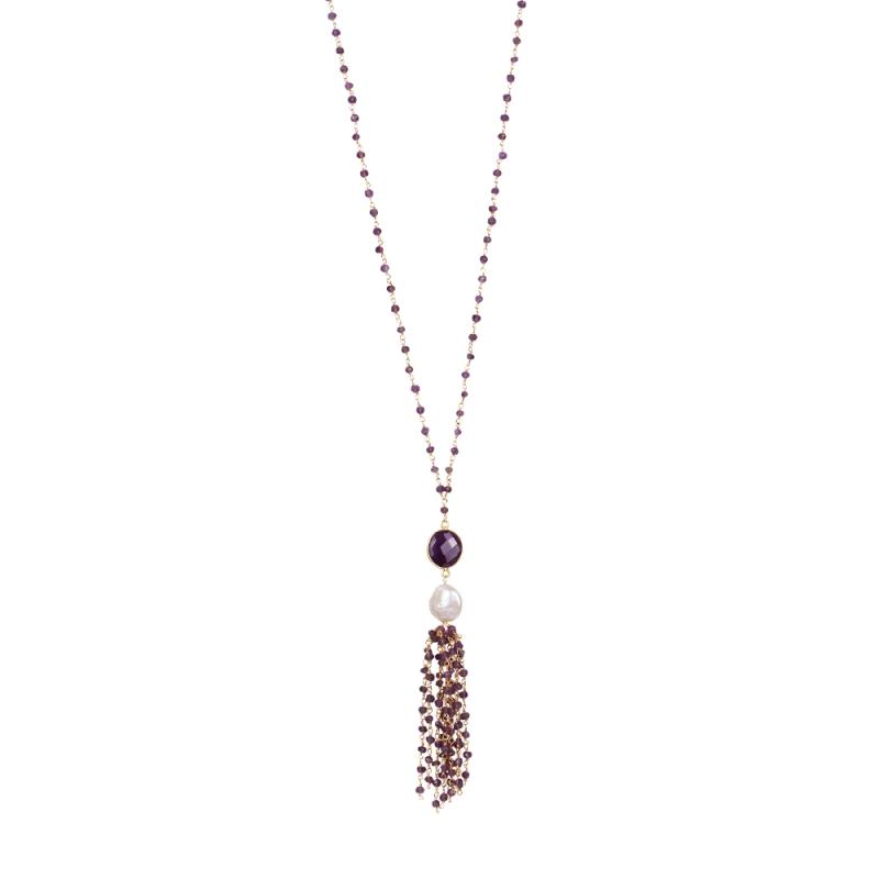 Collier Long en Vermeil, Perle Naturelleet Améthyste , Pompom