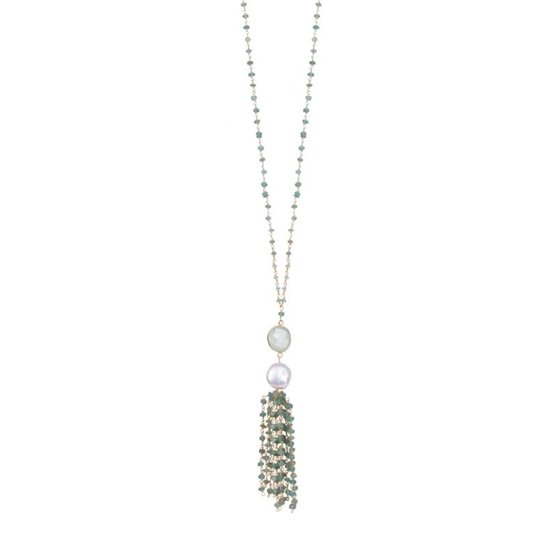 Collier Long en Vermeil, Perle Naturelleet Jade , Pompom