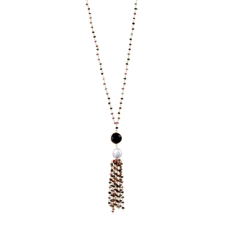 Collier Long en Vermeil, Perle Naturelle, Onyx et Saphirs , Pompom