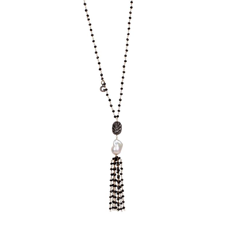 Collier Long en Vermeil, Perle Naturelle, Diamants et Onyx , Pompom