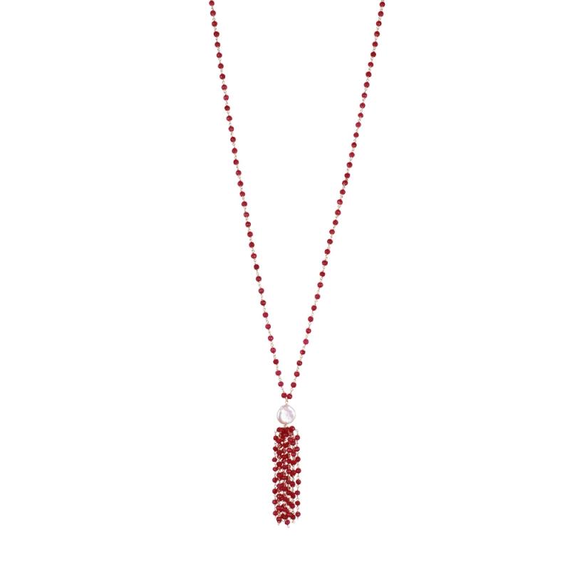 Collier Long en Vermeil, Perle Naturelleet Rubellite , Pompom