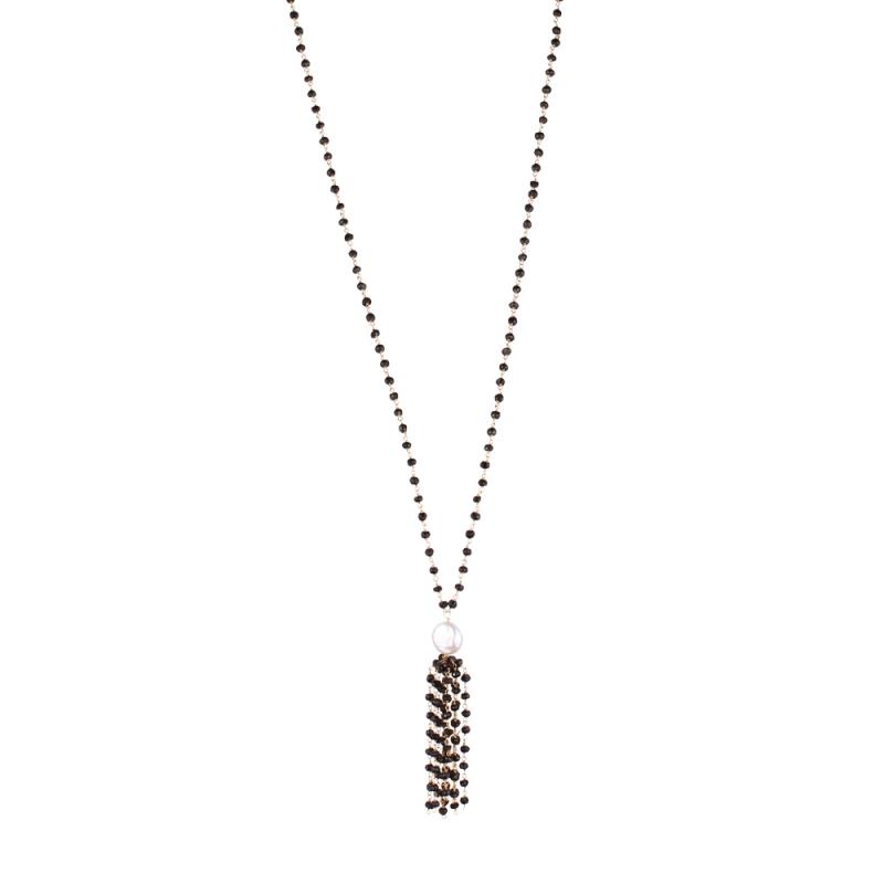 Collier Long en Vermeil, Perle Naturelleet Onyx , Pompom