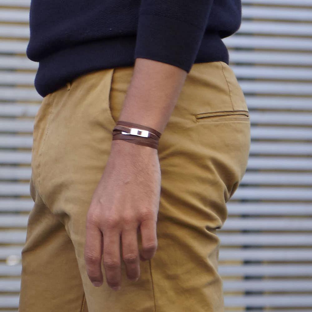 bracelet multi tours cuir et plaque argent le lacet parisien gustave diveene joaillerie