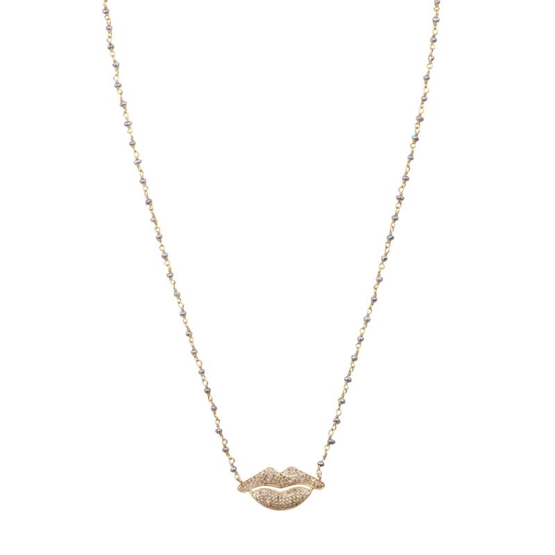 Collier Longen Vermeil, Diamants Champagne et Labradorite , Lips